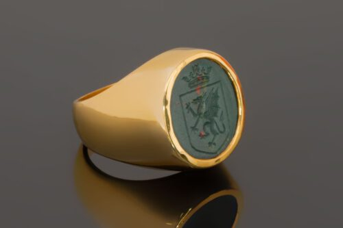 Bloodstone Celtic Crest Ring - Gold Plated Sterling Silver