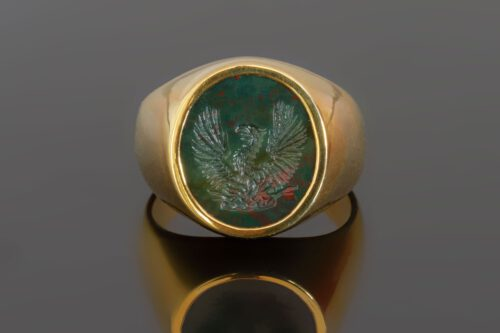 Bloodstone Phoenix Ring - Gold Plated Sterling Silver
