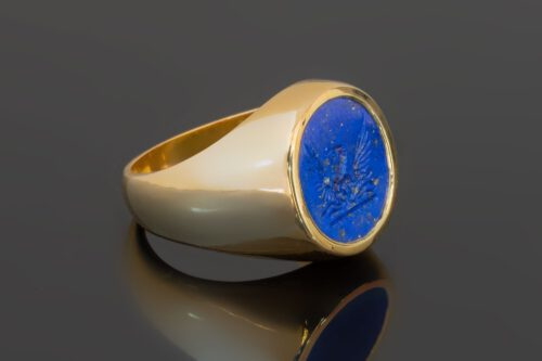 Lapis Phoenix Ring - Gold Plated Sterling Silver