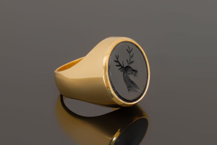 Black Onyx Stag Ring - Gold Plated Sterling Silver