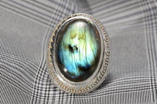 Art Deco Labradorite Ring - Sterling Silver