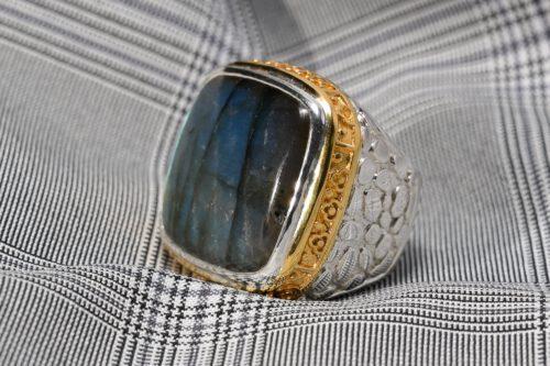 Unique Square Labradorite Ring - Sterling Silver