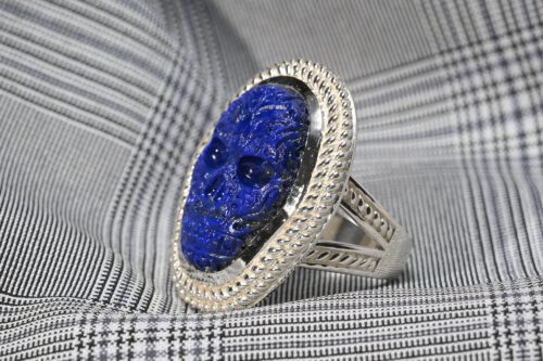 Lapis Aztec Skull Ring - Sterling Silver