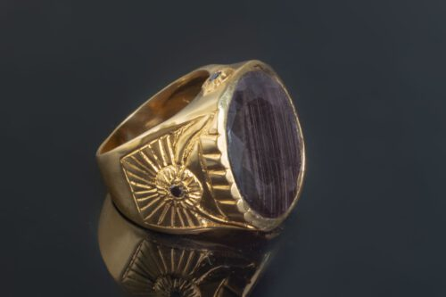 Unique Black Sapphire Ring - Gold Plated Sterling Silver