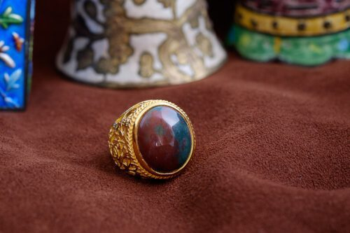 Unique Bloodstone Cabochon Ring - Gold Plated Sterling Silver