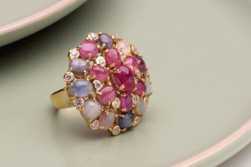 Ruby Ring Cabochons, Sapphires and Zircons - Gold Plated Sterling Silver