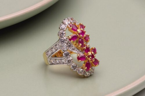 Faceted Ruby Ring with Zircons - Gold Plated