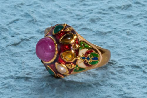 Ruby Ring set with a Fabulous Variety of Gemstones - Gold Plated Sterling Silver
