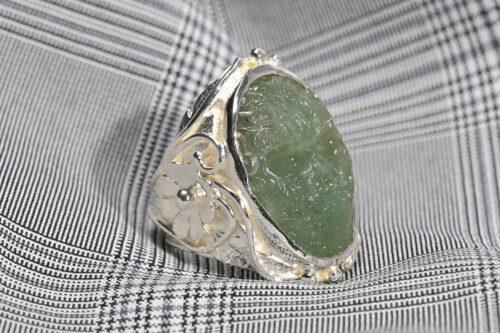 Skull Ring Jade Aztec Art Deco Style - Sterling Silver