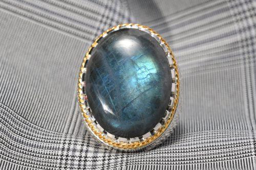 Unique Labradorite Ring - Art Deco Design - Sterling Silver