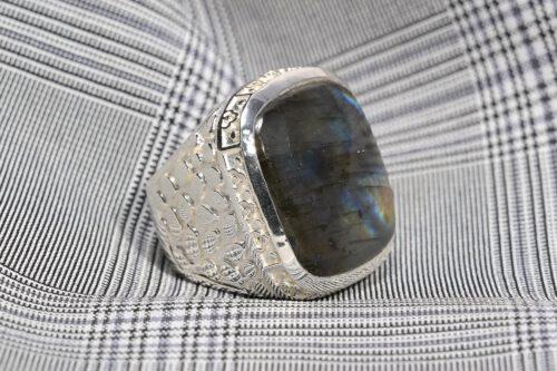 Labradorite Ring - Amazing Square Art Deco Design - Sterling Silver