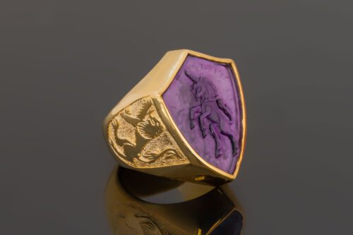 Amethyst Unicorn Ring with Lion Of Scotland Shoulders