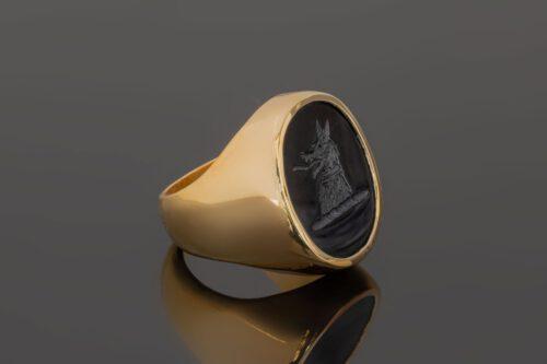 Black Onyx Wolf Head Signet Ring