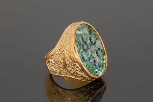 Jade Jerusalem Cross Ring with Oak Leaf Shoulders