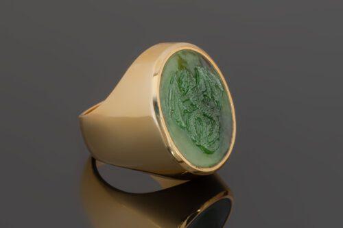 Jade Wyvern Celtic Dragon Ring