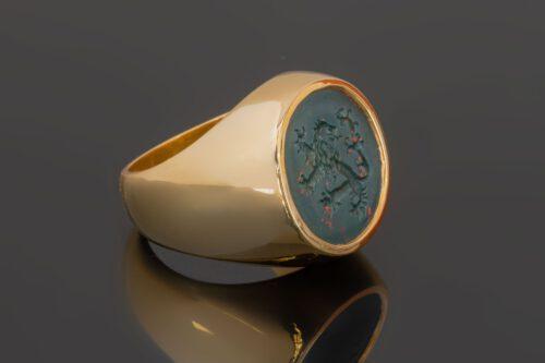 Bloodstone Lion Signet Ring