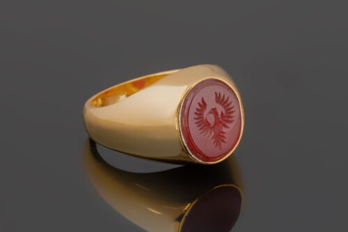 Small Red Agate Phoenix Ring - Gold Plated Sterling Silver