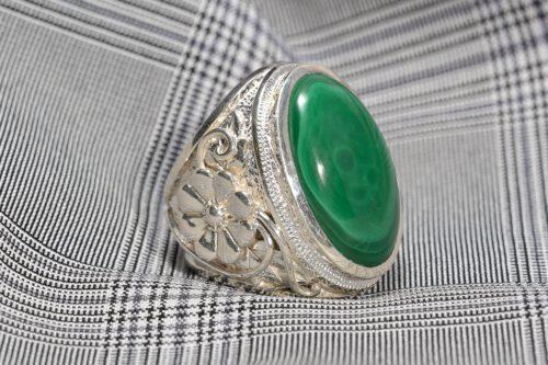 Unique Art Deco Malachite Ring - Sterling Silver