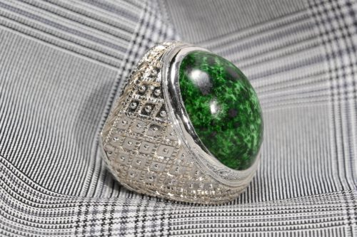 Unique Large Jade Cabochon Ring - Sterling Silver