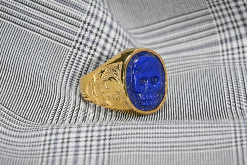 Lapis Unisex Skull Ring Set To Gold Plated Sterling Silver
