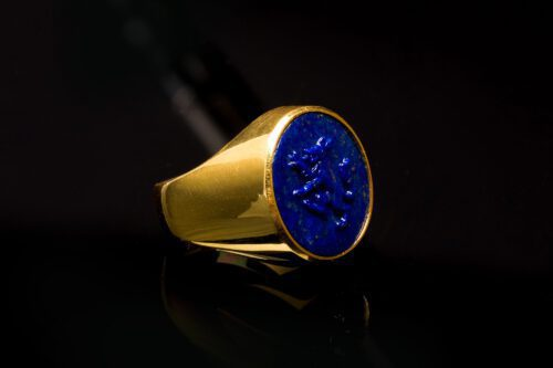 Lapis Wolf Rampant Ring Set to Gold Plated Sterling Silver